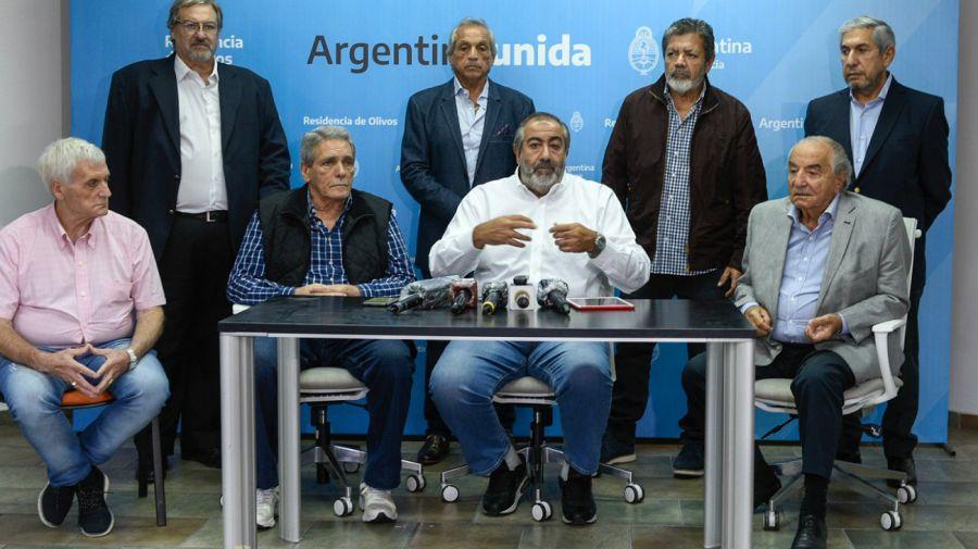 Los dirigentes cegetistas, luego de la reunión con el presidente Alberto Fernández en Olivos.