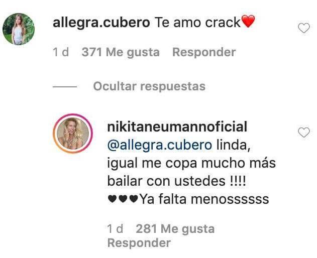 El mensaje de Allegra Cubero a Nicole Neumann en plena cuarentena