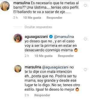 Respuesta de Agustina Agazzani a sus seguidores, ¿se cuelga de Baclini?