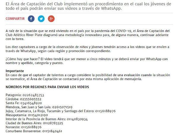 Comunicado River Plate