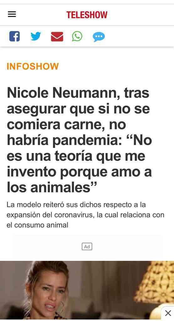 Nicole Neumann frente al virus de la intolerancia