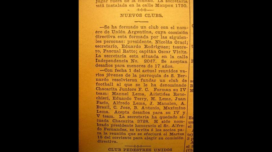 Anuncio de la fundación del club, diario La Argentina.