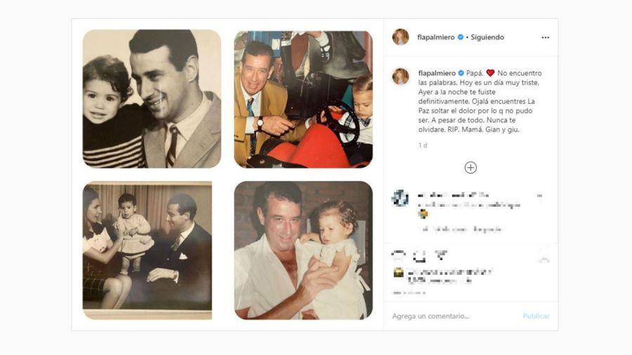 La despedida de Flavia Palmiero a su papá