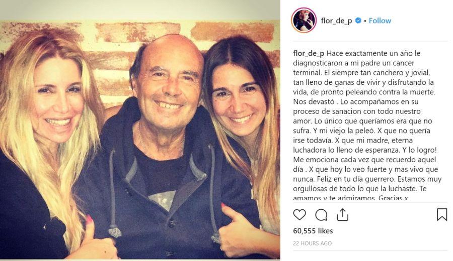Murió el padre de Flor Peña