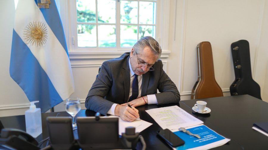 Alberto Fernández en la residencia presidencial de Olivos. Foto: Gentileza presidencia de la Nación.