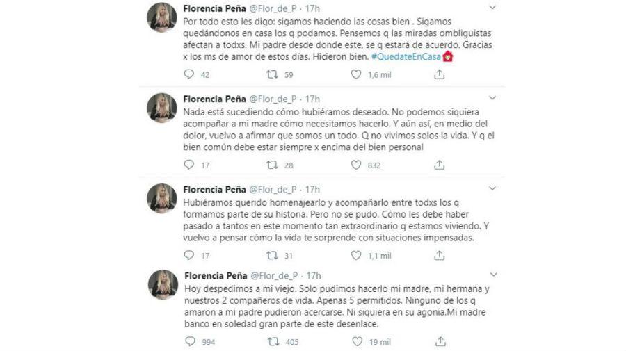 La despedida de Flor Peña a su papá