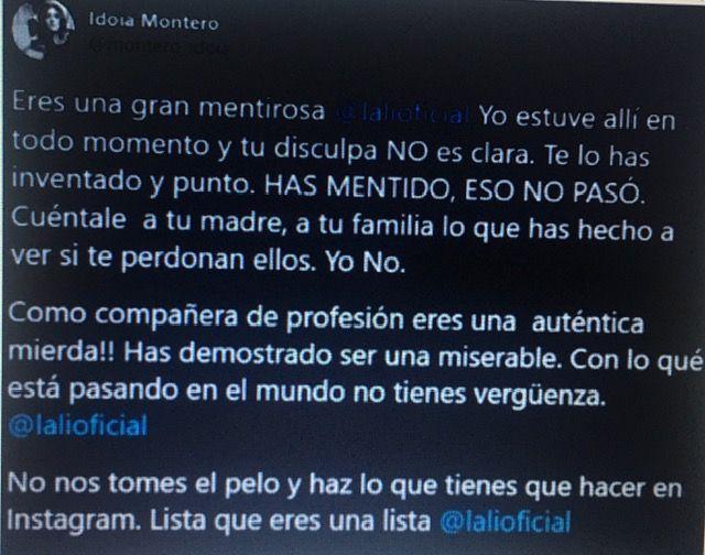 La hermana de Amaia Montero trató de miserable a Lali Esposito y la insultó