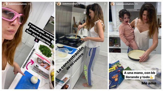Isabel Macedo cocinando en cuarentena