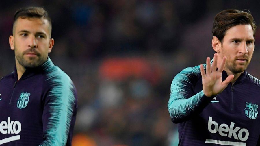 Jordi Alba y Lionel Messi