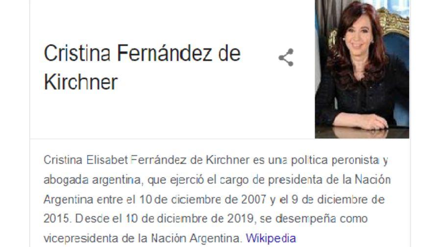 Google corrigió este domingo 17 de mayo su calificación a Cristina Kirchner.