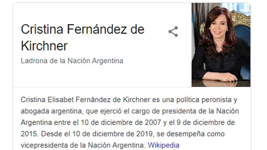 La calificación que Google asignaba a Cristina Kirchner generó revuelo en redes.