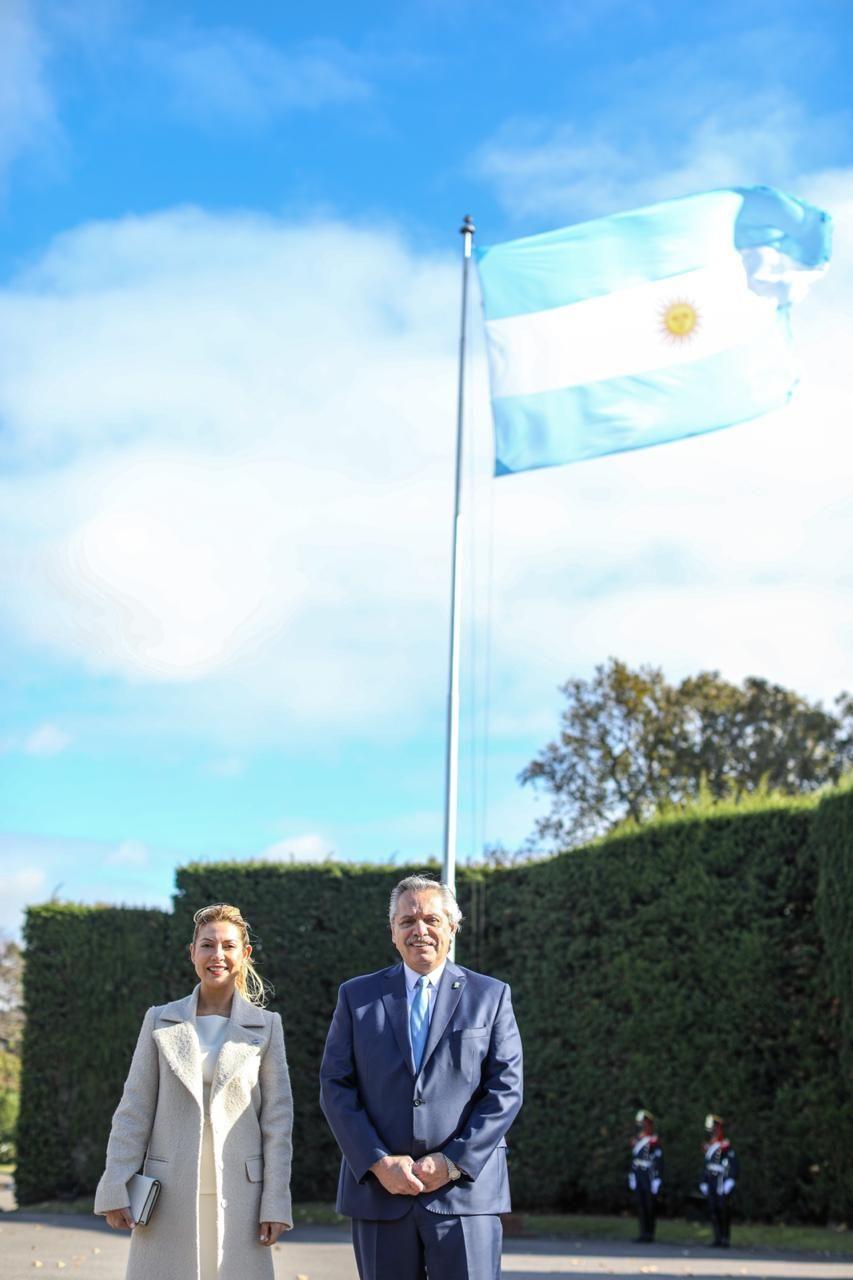 Alberto Fernández y Fabiola Yáñez, en su celebración del 25 de mayo.