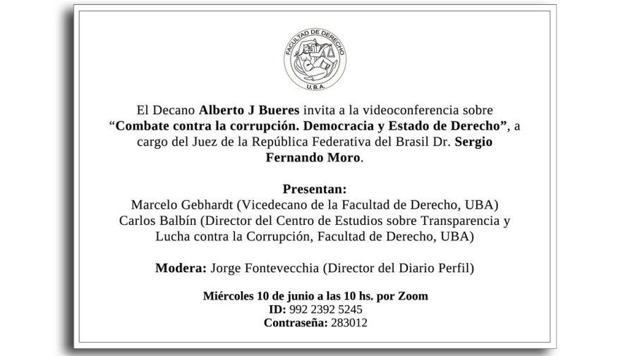 La invitación a la conferencia cumpliendo todas las formalidades.