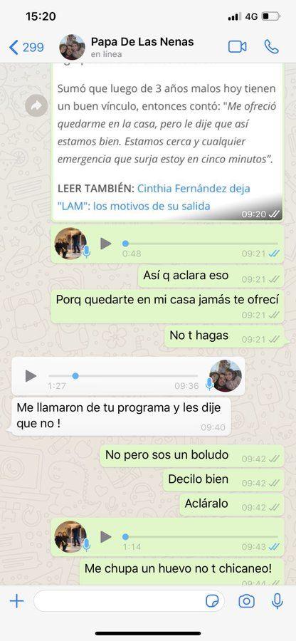 Cinthia Fernández chat con Matías Defederico