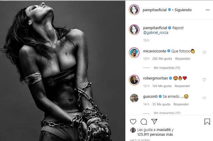 Pampita compartió una foto encadenada y generó la reacción de García Moritán