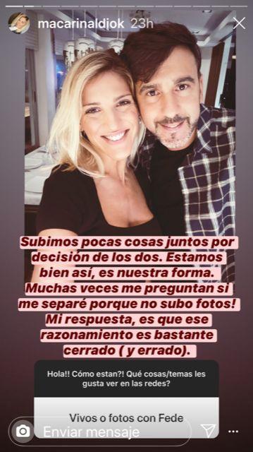 Macarena Rinaldi habló de los rumores de separación con Fede Hoppe