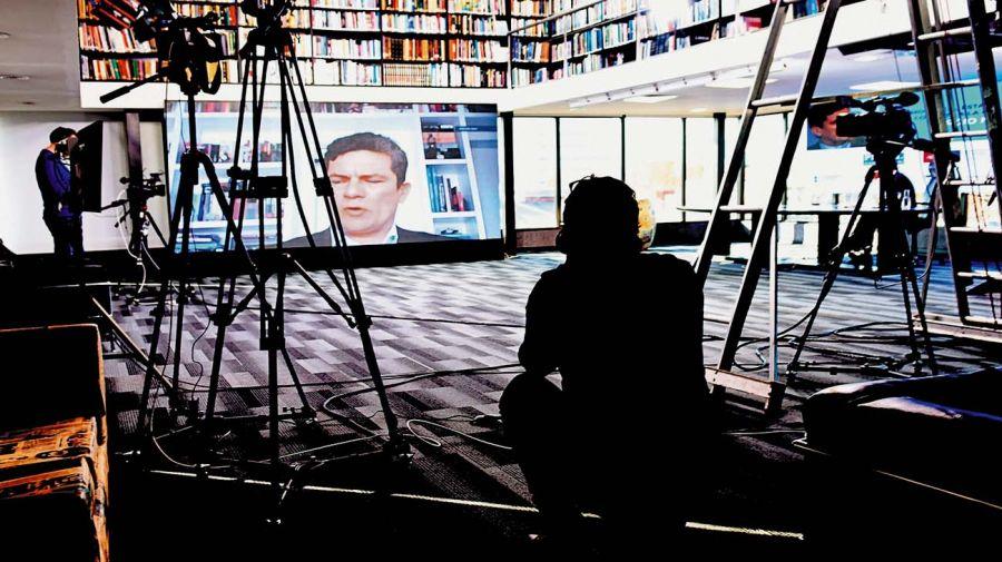 Sergio Moro, en la conferencia con académicos argentinos.