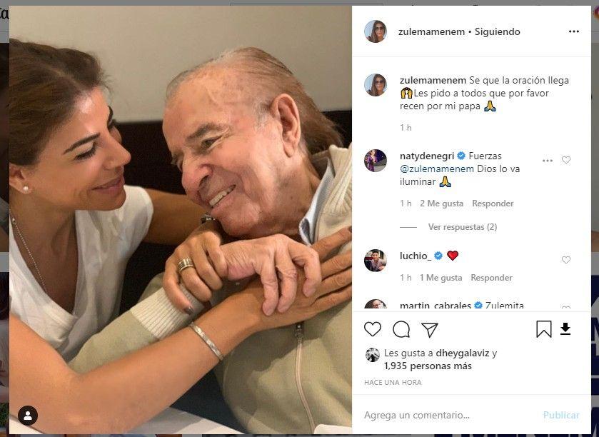 Zulema Menem pide una oración por su padre, Carlos Menem