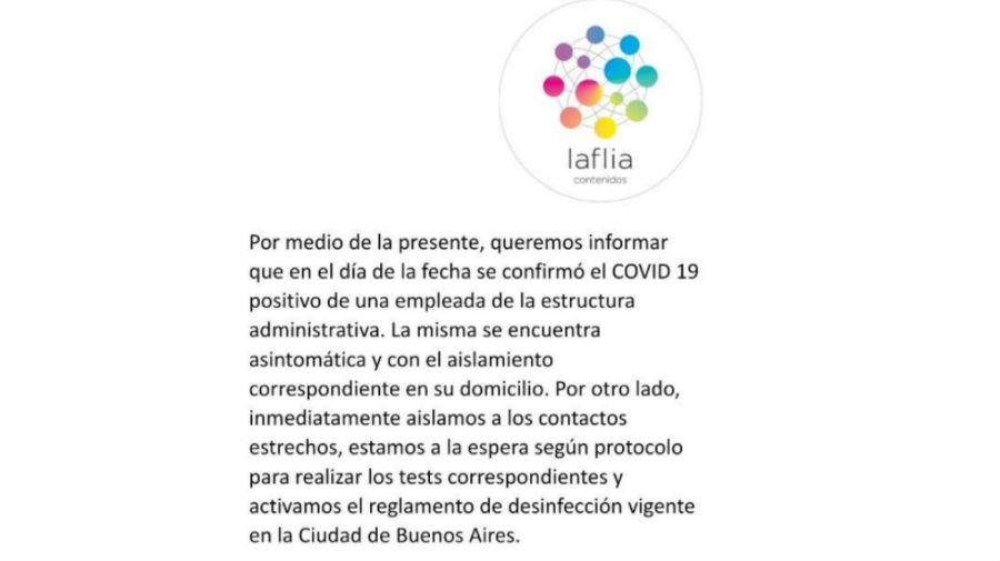 Desde La Flia confirmaron el primer positivo de Covid-19