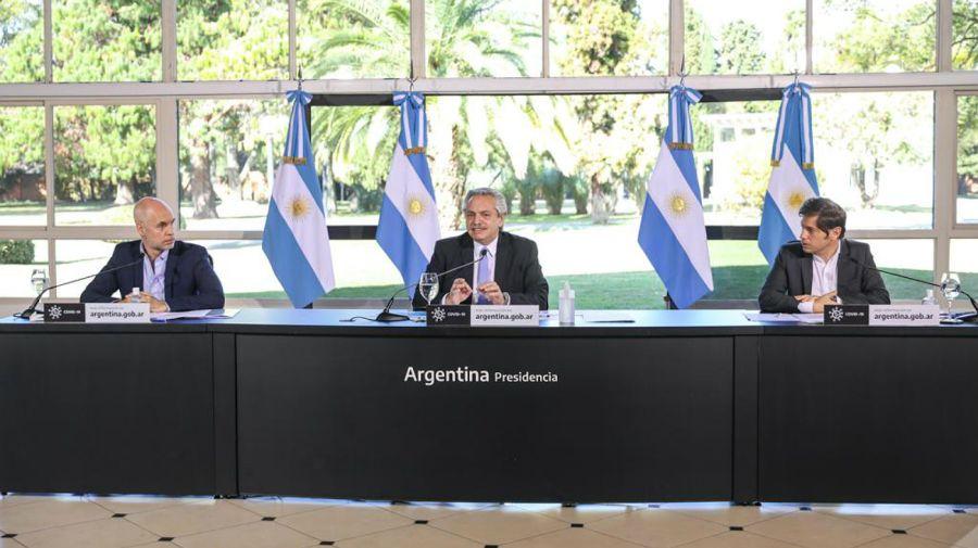 Anuncio grabado de Alberto Fernández, Axel Kicillof y Horacio Rodríguez Larreta.