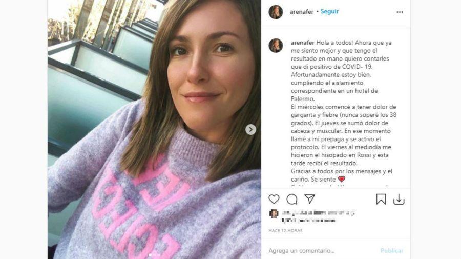 Fernanda Arena con coronavirus