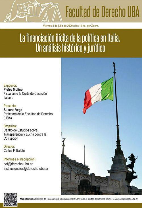 La conferencia del dcotor Pietro Molino, anunciada para el viernes 3 de julio por la Facultad de Derecho de la UBA.