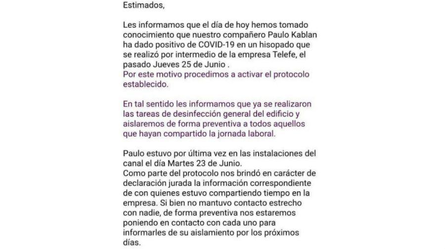 El comunicado de C5N por Paulo Kablan