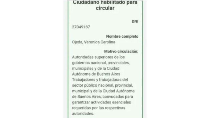 El permiso presentado por Verónica Ojeda