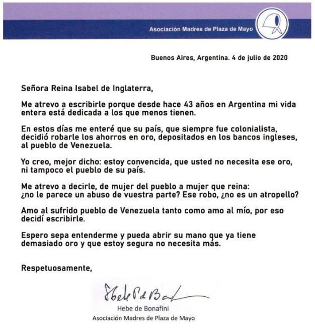 Carta de Bonafini a la Reina de Inglaterra.