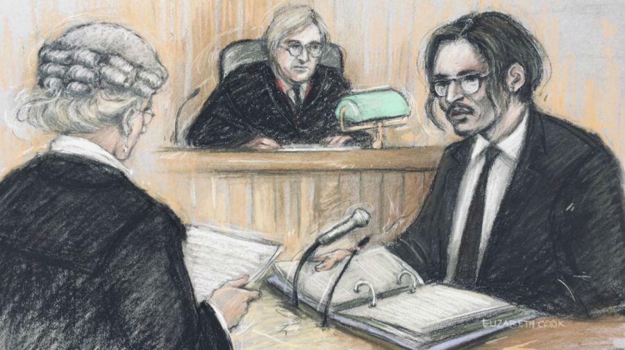 Johnny Depp siendo interrogado por la aboada Sasha Wass ante un juez en el Alto Tribunal en Londres