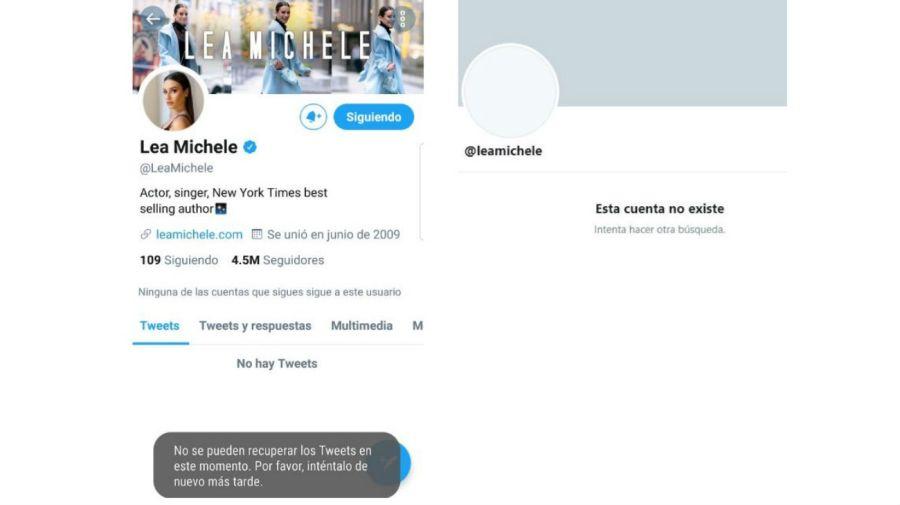 Cuenta de Twitter de Lea Michele