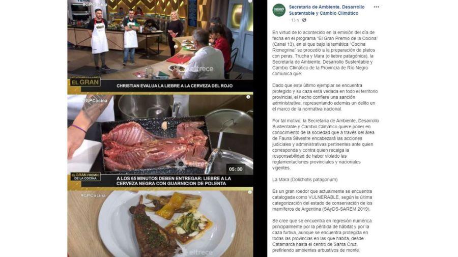 La secretaria de Ambiente de Río Negro contra El Gran Premio de la Cocina