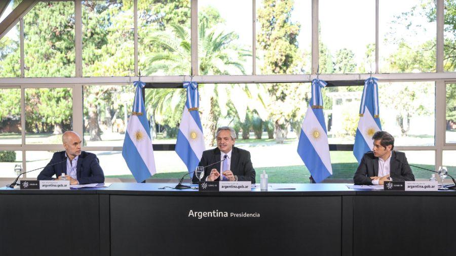 Horacio Rodríguez Larreta, Alberto Fernández y Axel Kicillof. Crédito: NA (archivo)