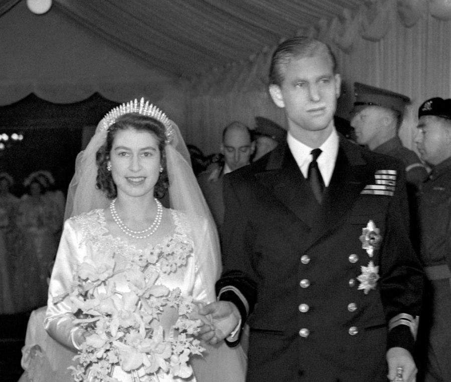 La reina Isabel II en su casamiento