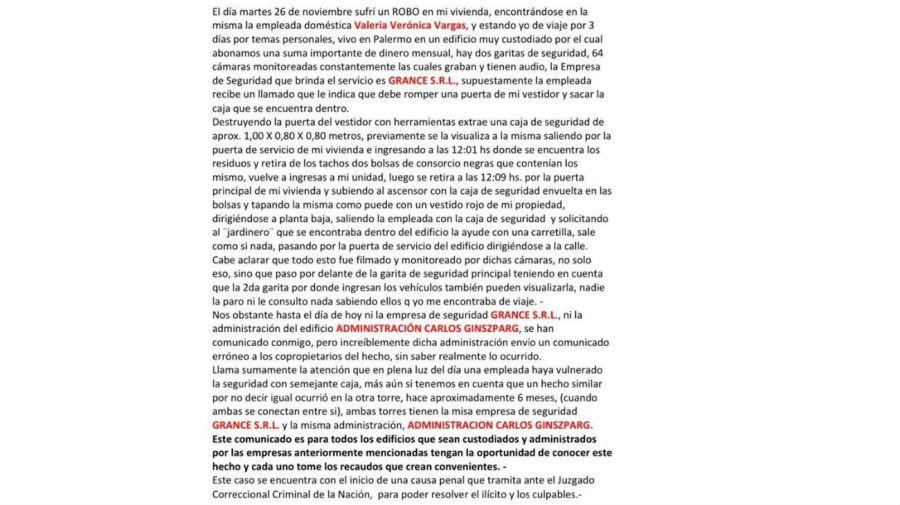 La denuncia de robo de Ana Maria Patricelli