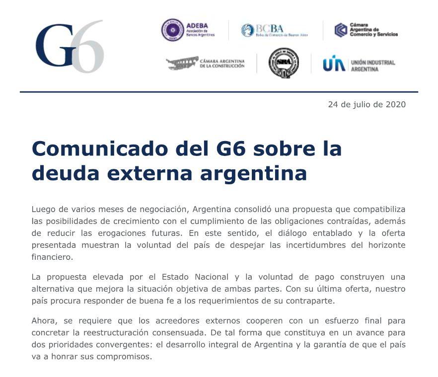 El comunicado del G6 por la deuda.