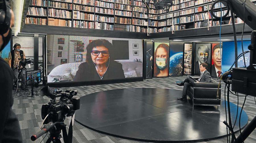 La ex ministra de Seguridad Patricia Bullrich, en la entrevista con Jorge Fontevecchia.