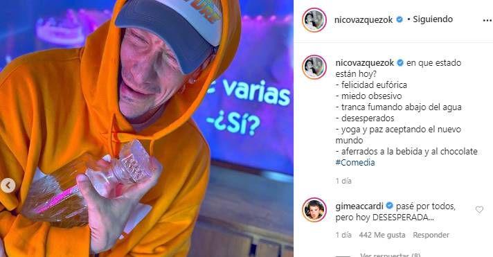 Post de Nico Vázquez sobre la cuarentena