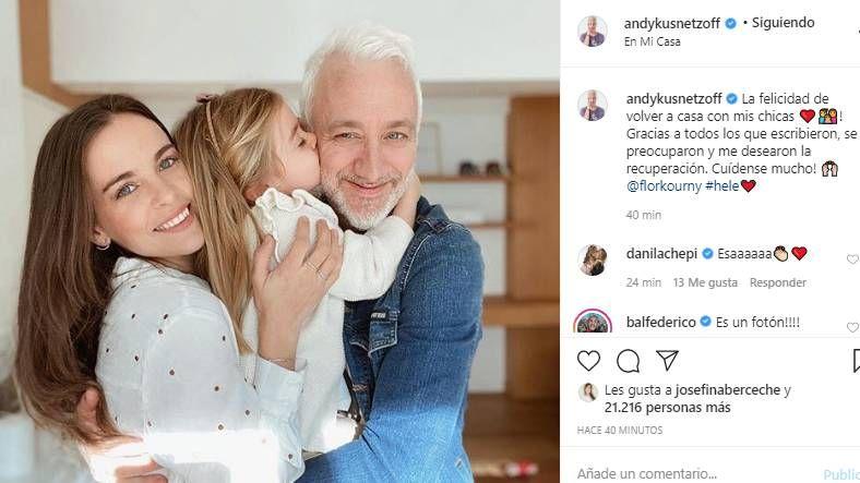 El emotivo mensaje de la mujer de Andy Kustnetzoff tras recibir el alta