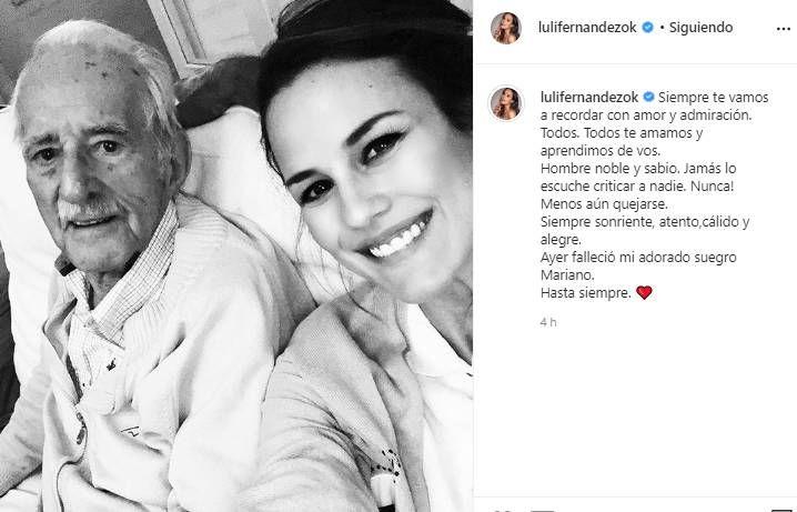 El mal momento de Luli Fernández: despidió a su suegro con un emotivo mensaje