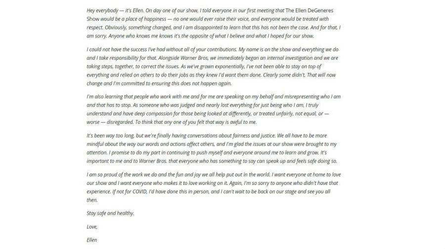 La carta de Ellen DeGeneres tras la denuncia