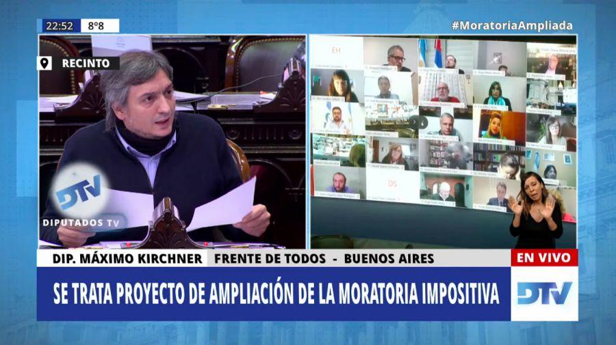 Máximo Kirchner durante el cierre de la sesión.
