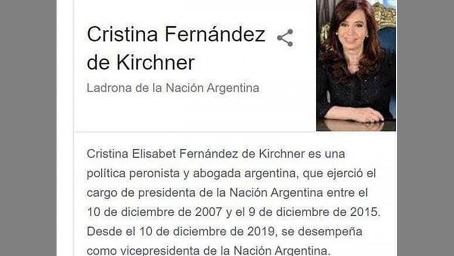 foto de CFK ladrona 20200806
