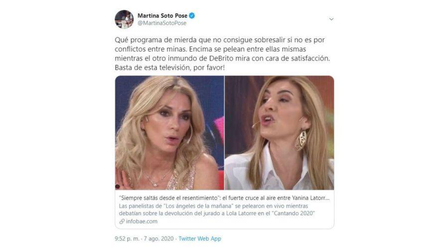 Furioso tuit Martina Soto Pose con LAM