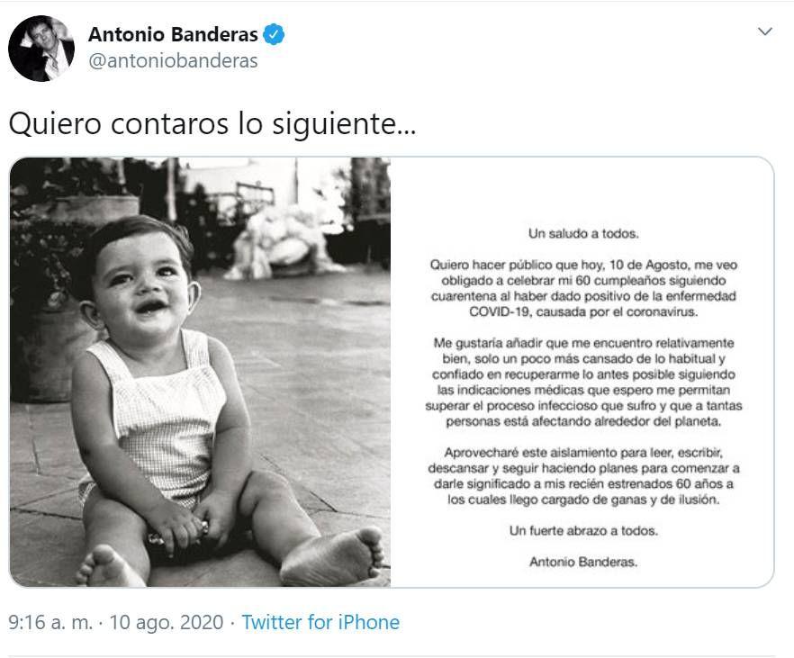Antonio Banderas contó que tiene COVI-19