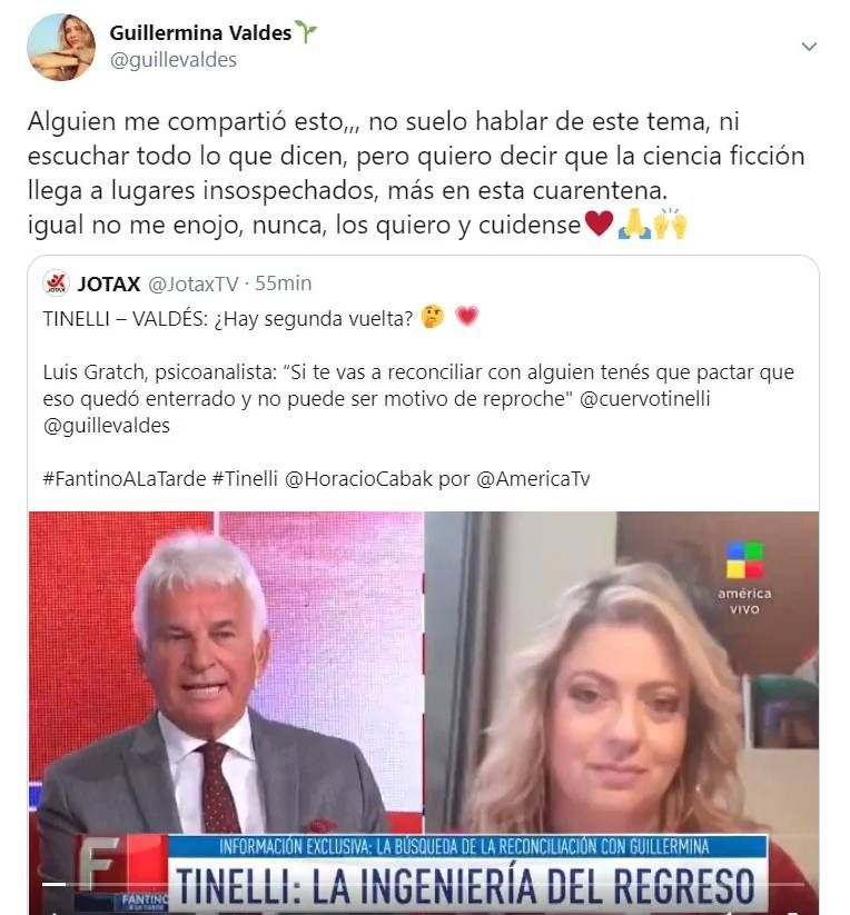 Contundente mensaje de Guille Valdés en medio de rumores de reconciliación con Tinelli