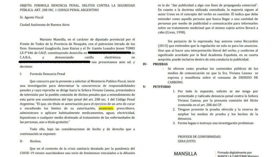 Denuncia contra Viviana Canosa