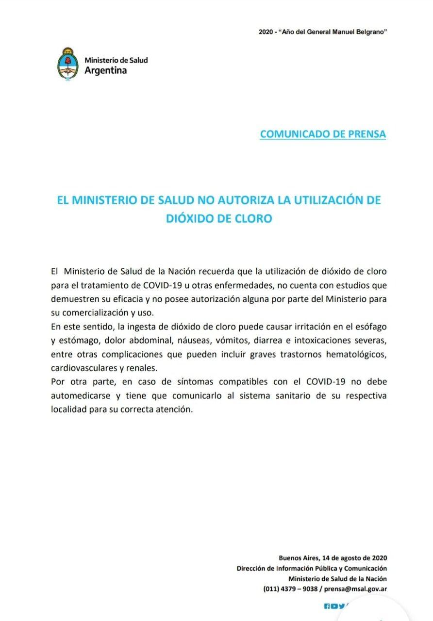 Documento contra el consumo de dióxido de cloro