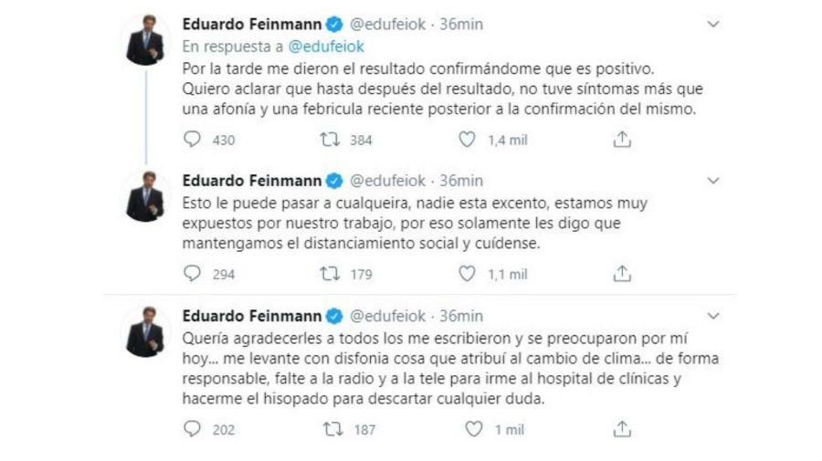 Eduardo Feinmann tiene coronavirus