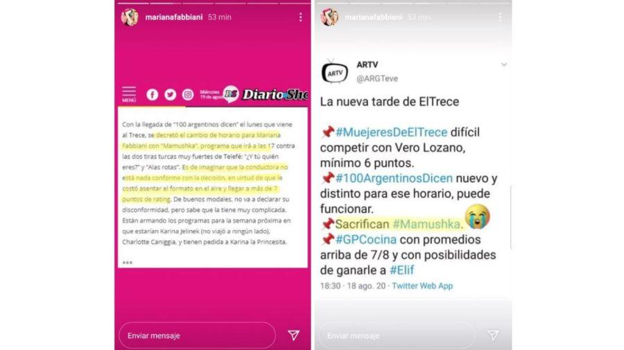 Mariana Fabbiani furiosa con el cambio de Mamushka